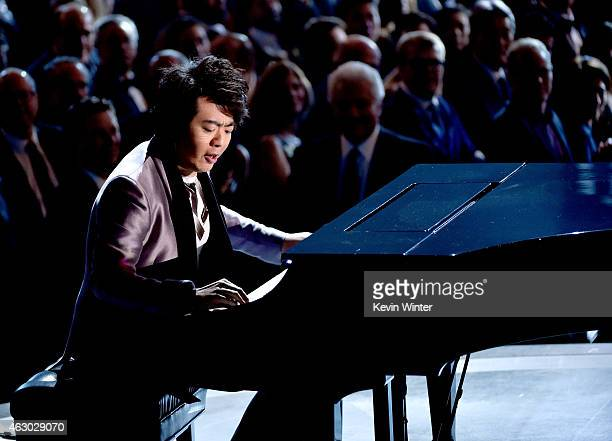 Musician Lang Lang performs onstage during The 57th Annual GRAMMY Awards at the STAPLES Center on February 8 2015 in Los Angeles California