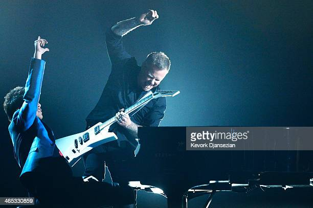 Musician Lang Lang performs with James Hetfield of Metallica onstage during the 56th GRAMMY Awards at Staples Center on January 26 2014 in Los...