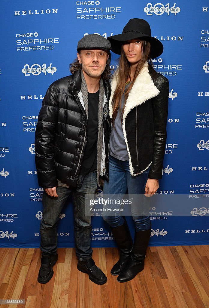 Musician Lars Ulrich and Jessica Miller arrive at the 'Hellion' premiere party at Chase Sapphire on January 17 2014 in Park City Utah