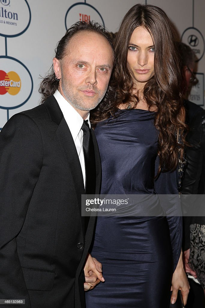 Musician Lars Ulrich (L) and model Jessica Miller arrive at the 2014 HYUNDAI / GRAMMYs Clive Davis Pre-GRAMMY Gala Activation + Equus Fleet Arrivals at The Beverly Hilton Hotel on January 25, 2014 in Beverly Hills, California.