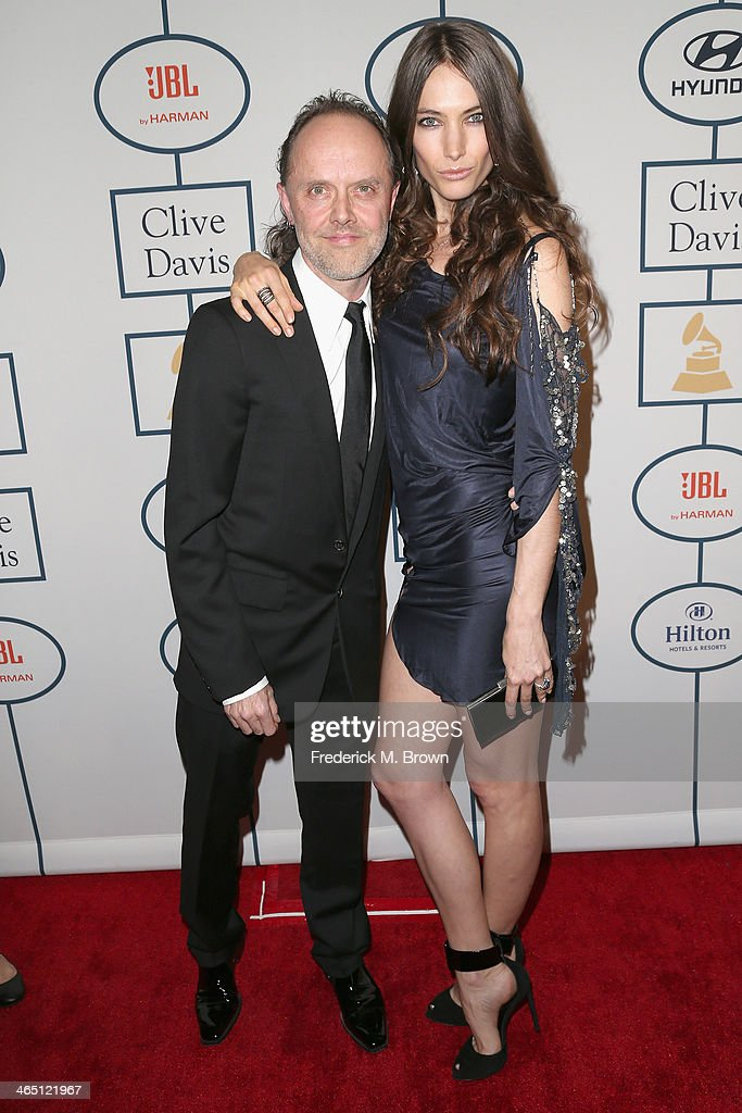 Musician Lars Ulrich and model Jessica Miller attend the 56th annual GRAMMY Awards Pre-GRAMMY Gala and Salute to Industry Icons honoring Lucian Grainge at The Beverly Hilton on January 25, 2014 in Beverly Hills, California.