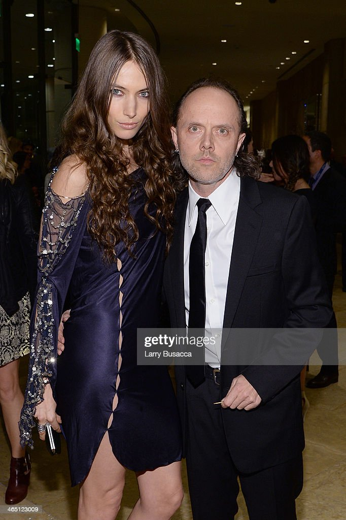 Musician Lars Ulrich (R) and model Jessica Miller attend the 56th annual GRAMMY Awards Pre-GRAMMY Gala and Salute to Industry Icons honoring Lucian Grainge at The Beverly Hilton on January 25, 2014 in Beverly Hills, California.