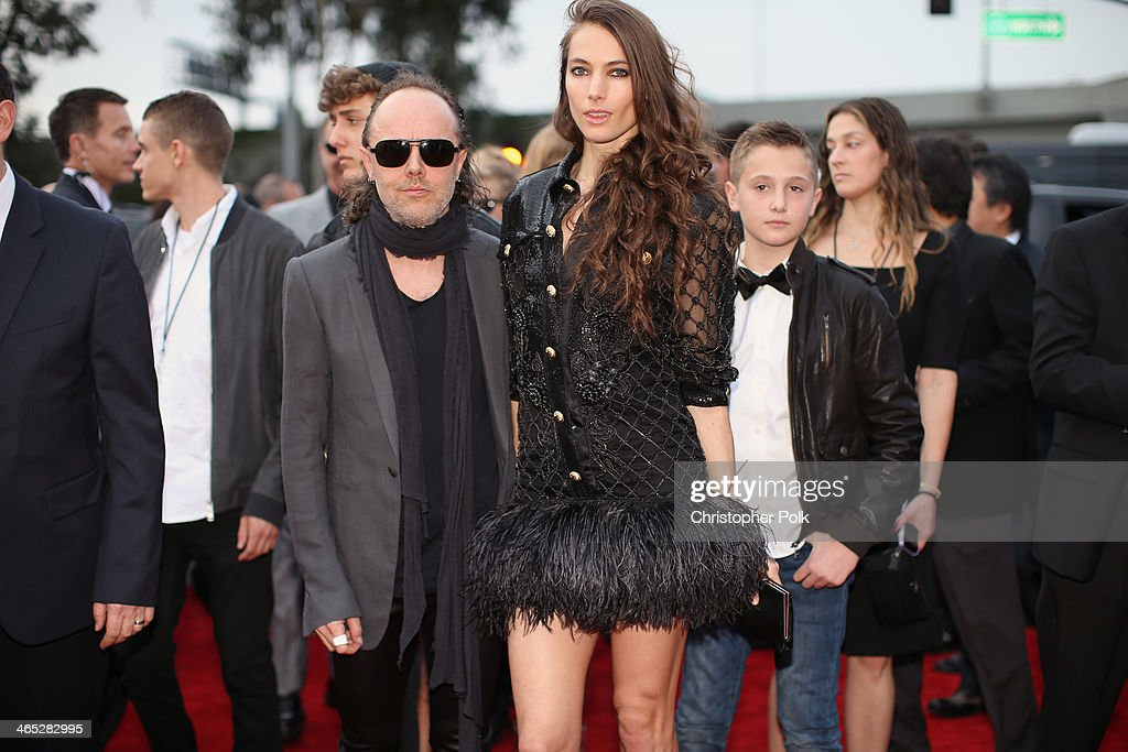 Musician Lars Ulrich and model Jessica Miller attend the 56th GRAMMY Awards at Staples Center on January 26, 2014 in Los Angeles, California.