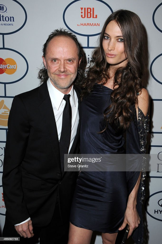 Musician Lars Ulrich (L) and model Jessica Miller attends the 56th annual GRAMMY Awards Pre-GRAMMY Gala and Salute to Industry Icons honoring Lucian Grainge at The Beverly Hilton on January 25, 2014 in Los Angeles, California.