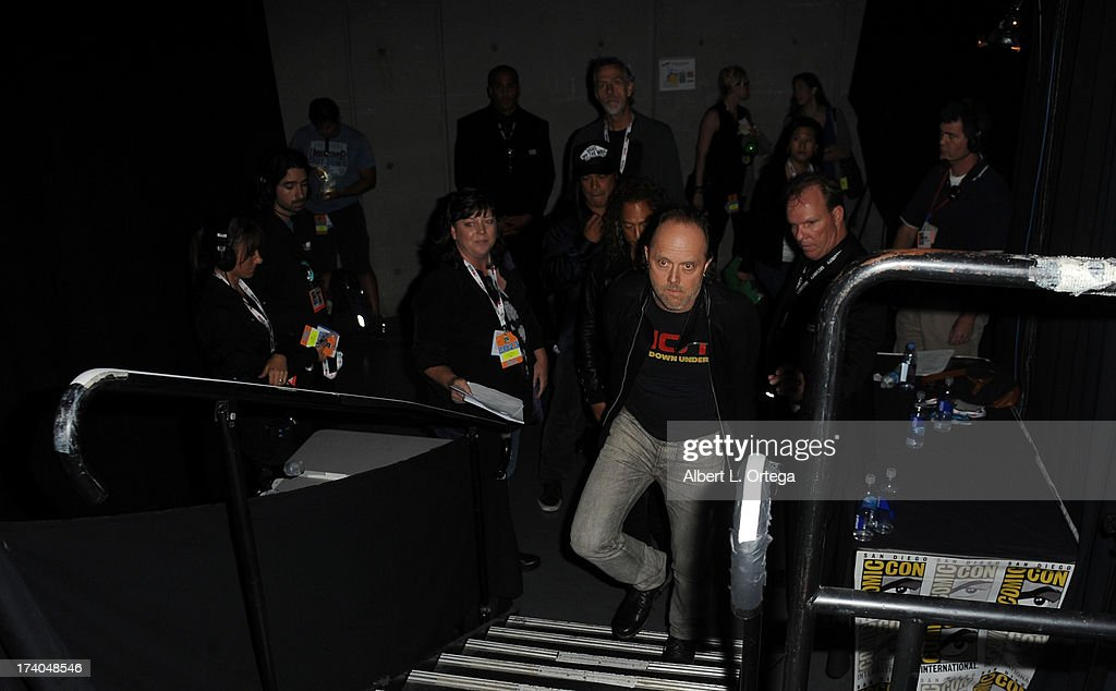Musician <a gi-track='captionPersonalityLinkClicked' href=/galleries/search?phrase=Lars+Ulrich&family=editorial&specificpeople=209281 ng-click='$event.stopPropagation()'>Lars Ulrich</a> arrives onstage at 'At The Drive-In With Metallica' during Comic-Con International 2013 at San Diego Convention Center on July 19, 2013 in San Diego, California.