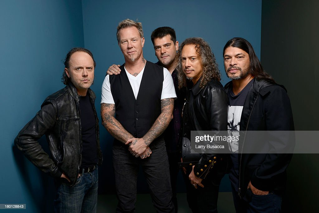 Musician Lars Ulrich musician James Hetfield director Nimrod Antal musician Kirk Hammett and musician Robert Trujillo of 'Metallica Through The...