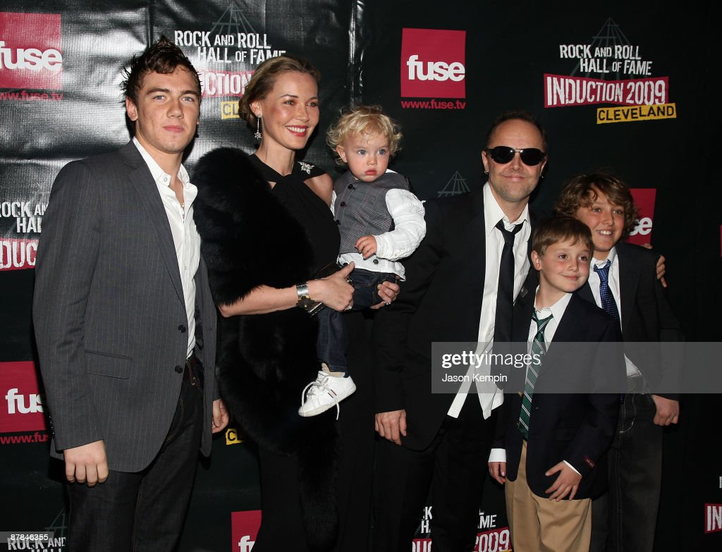 Musician Lars Ulrich (3rd R) of Metallica and family attend the 24th Annual Rock and Roll Hall of Fame Induction Ceremony at Public Hall on April 4, 2009 in Cleveland, Ohio.