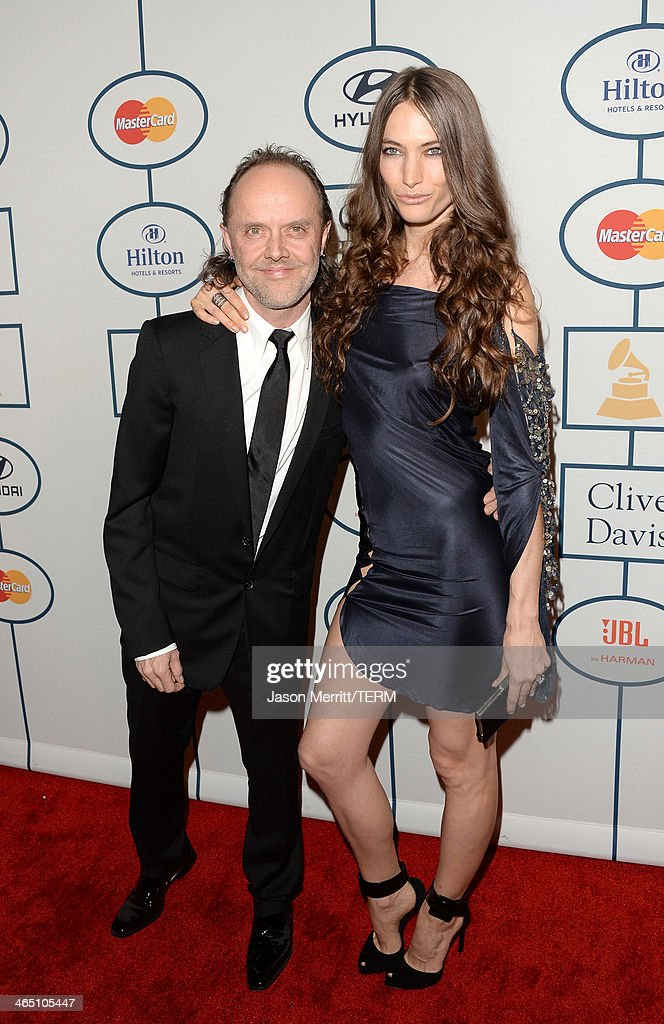 Musician Lars Ulrich of Metallica (L) and model Jessica Miller attend the 56th annual GRAMMY Awards Pre-GRAMMY Gala and Salute to Industry Icons honoring Lucian Grainge at The Beverly Hilton on January 25, 2014 in Los Angeles, California.