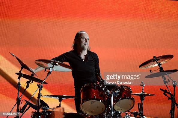 Musician Lars Ulrich of Metallica performs onstage during the 56th GRAMMY Awards at Staples Center on January 26 2014 in Los Angeles California