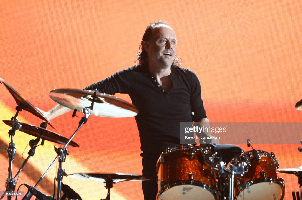 Musician Lars Ulrich of Metallica performs onstage during the 56th GRAMMY Awards at Staples Center on January 26, 2014 in Los Angeles, California.