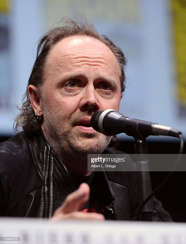 Musician <a gi-track='captionPersonalityLinkClicked' href=/galleries/search?phrase=Lars+Ulrich&family=editorial&specificpeople=209281 ng-click='$event.stopPropagation()'>Lars Ulrich</a> speaks onstage at 'At The Drive-In With Metallica' during Comic-Con International 2013 at San Diego Convention Center on July 19, 2013 in San Diego, California.