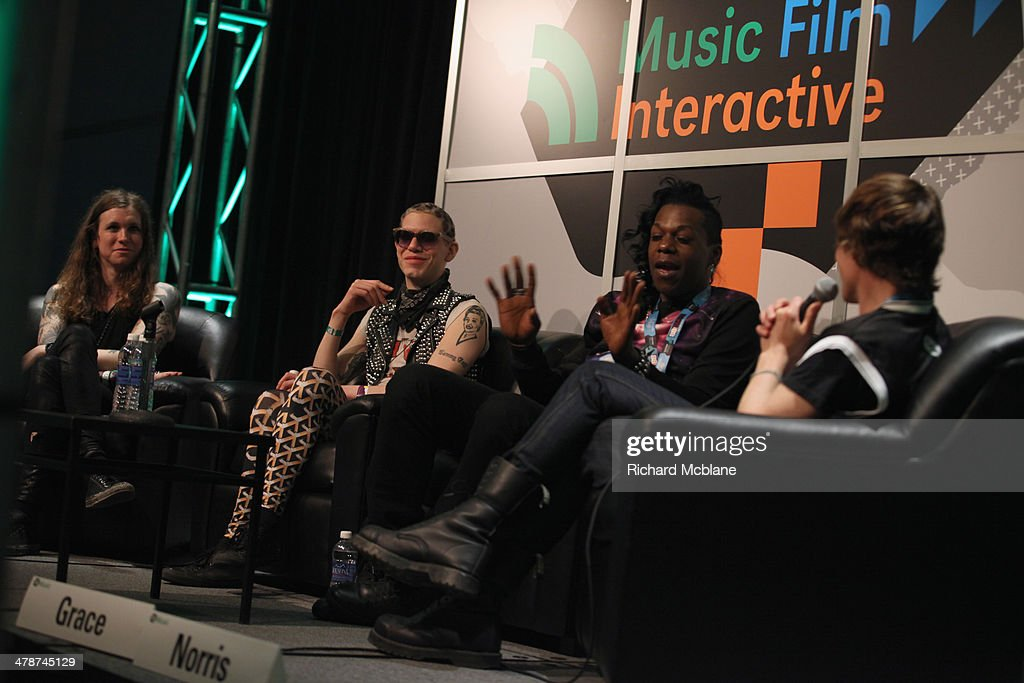 Musician Laura Jane Grace Sharon Needles Big Freedia and John Norris speak onstage at The Nonconformists during the 2014 SXSW Music Film Interactive...