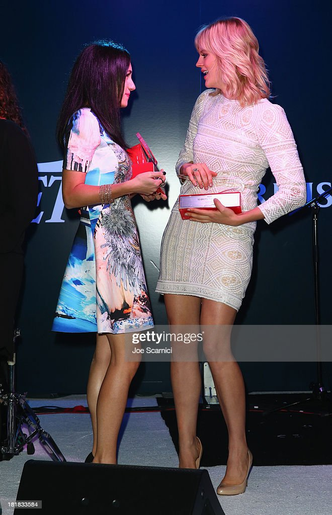 Musician Lauren Harris and actress Georgia King onstage during British Airways and Variety Celebrate The Inaugural A380 Service Direct from Los Angeles to London and Discover Variety's 10 Brits to Watch on September 25, 2013 in Los Angeles, California.