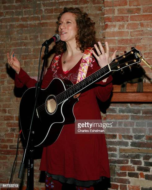 Musician Laurie Berkner performs at the Kidscreen Summit cocktail reception at Little Airplane Productions on February 10 2009 in New York City