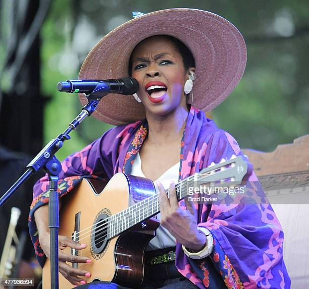 Musician Lauryn Hill attends the Louis Armstrong's Wonderful World festival in Flushing Meadows Corona Park on June 20 2015 in New York City