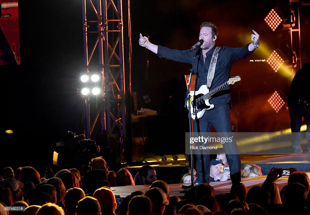 Musician Lee Brice performs onstage during NHL AllStar Winter Park Nashville 2016 Day 2 on January 29 2016 in Nashville Tennessee
