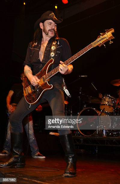 Musician Lemmy from Motorhead performs with LA Supergroup Camp Freddy at the 1031 Celebrates 103 Days in Los Angeles party on April 13 2004 at Avalon...