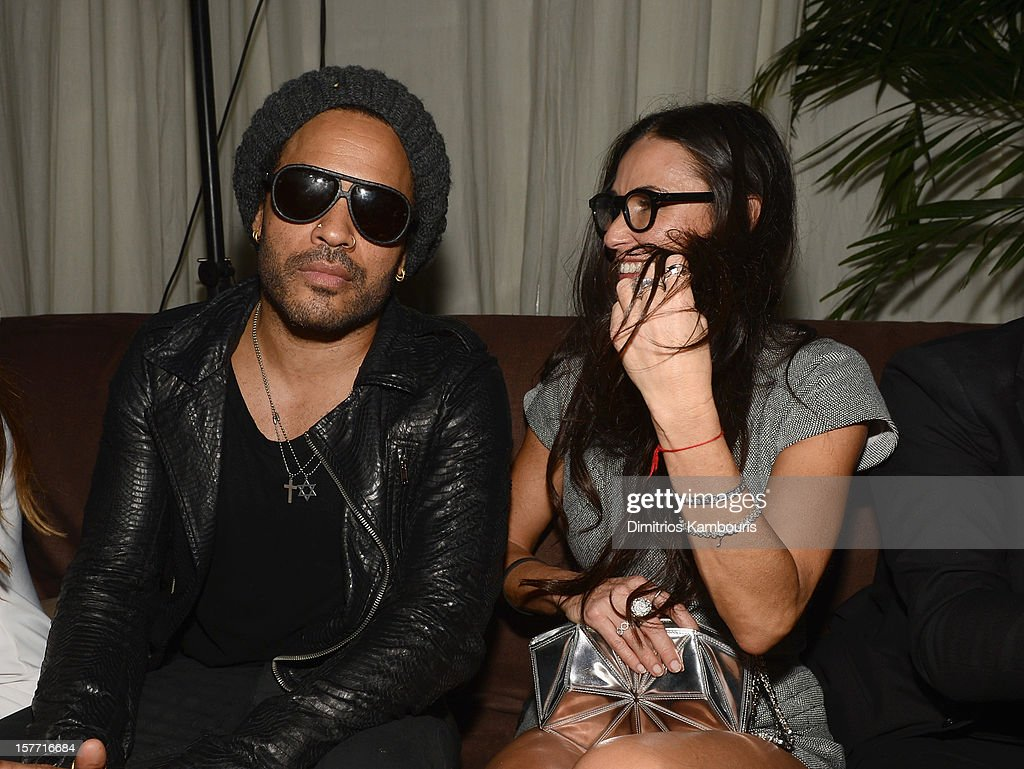 Musician <a gi-track='captionPersonalityLinkClicked' href=/galleries/search?phrase=Lenny+Kravitz&family=editorial&specificpeople=171613 ng-click='$event.stopPropagation()'>Lenny Kravitz</a> and actress <a gi-track='captionPersonalityLinkClicked' href=/galleries/search?phrase=Demi+Moore&family=editorial&specificpeople=202121 ng-click='$event.stopPropagation()'>Demi Moore</a> attend a Beachside Barbecue presented by CHANEL hosted by Art.sy Founder Carter Cleveland, Larry Gagosian, Wendi Murdoch, Peter Thiel and Dasha Zhukova at Soho Beach House on December 5, 2012 in Miami Beach, Florida.