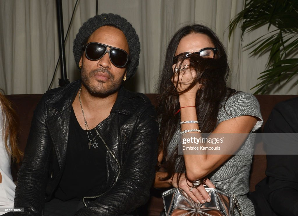 Musician Lenny Kravitz and actress Demi Moore attend a Beachside Barbecue presented by CHANEL hosted by Art.sy Founder Carter Cleveland, Larry Gagosian, Wendi Murdoch, Peter Thiel and Dasha Zhukova at Soho Beach House on December 5, 2012 in Miami Beach, Florida.