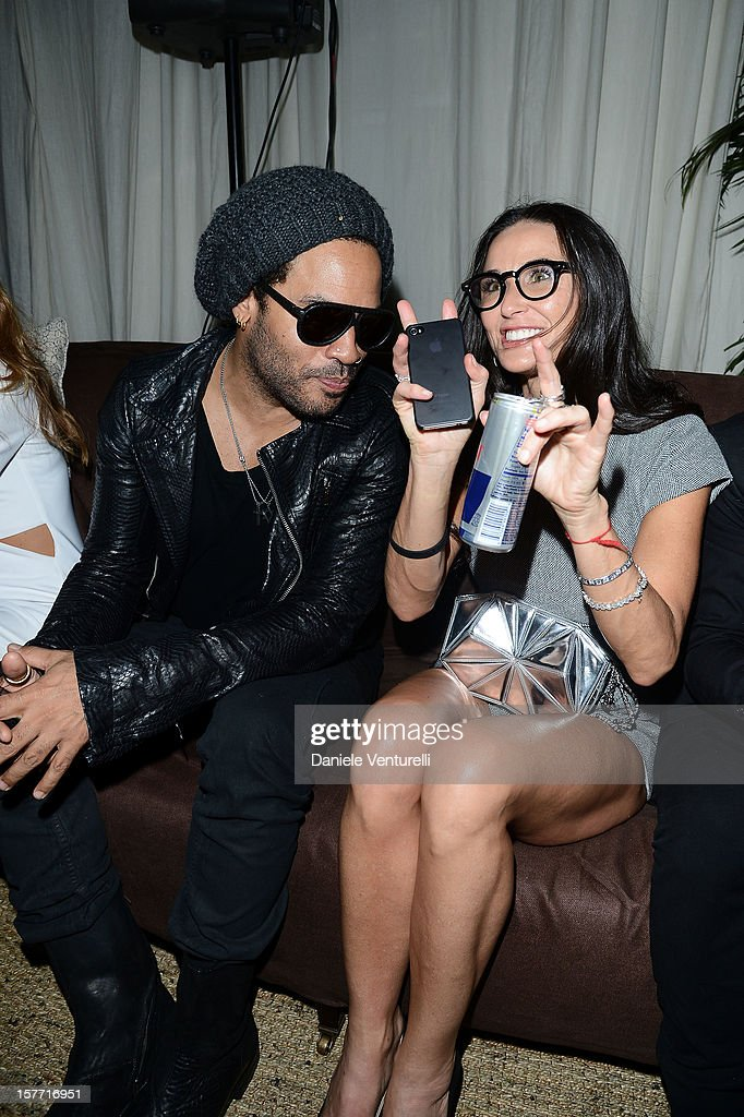 Musician <a gi-track='captionPersonalityLinkClicked' href=/galleries/search?phrase=Lenny+Kravitz&family=editorial&specificpeople=171613 ng-click='$event.stopPropagation()'>Lenny Kravitz</a> and actress <a gi-track='captionPersonalityLinkClicked' href=/galleries/search?phrase=Demi+Moore&family=editorial&specificpeople=202121 ng-click='$event.stopPropagation()'>Demi Moore</a> attend Chanel beachside BBQ celebrating Art.sy at Soho Beach House on December 5, 2012 in Miami Beach, Florida.