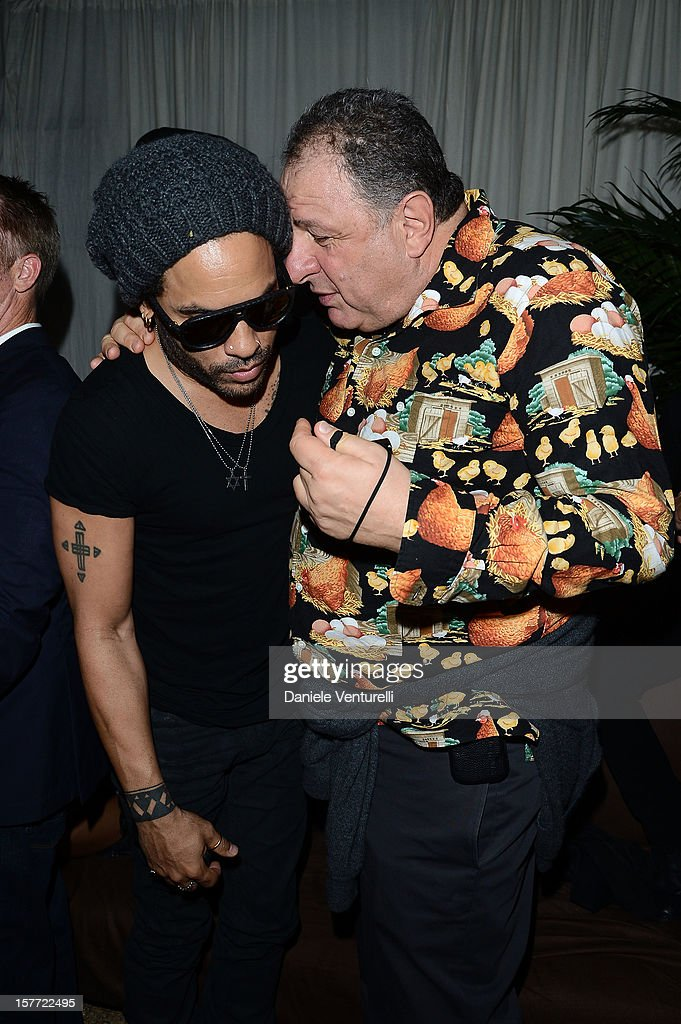Musician <a gi-track='captionPersonalityLinkClicked' href=/galleries/search?phrase=Lenny+Kravitz&family=editorial&specificpeople=171613 ng-click='$event.stopPropagation()'>Lenny Kravitz</a> and Jean Pigozzi attend Chanel beachside BBQ celebrating Art.sy at Soho Beach House on December 5, 2012 in Miami Beach, Florida.