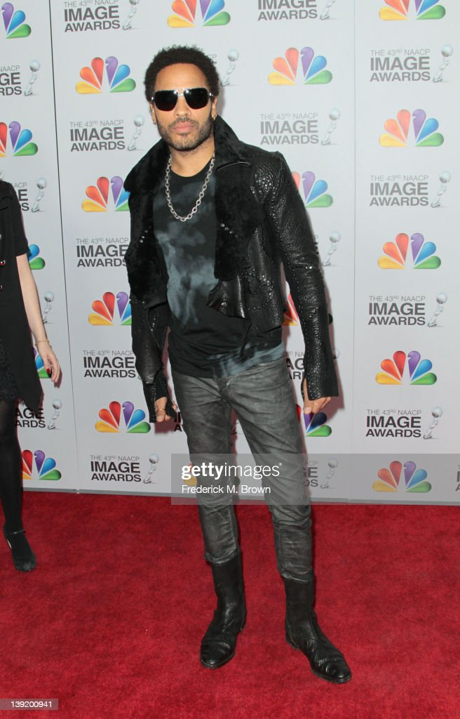 Musician <a gi-track='captionPersonalityLinkClicked' href=/galleries/search?phrase=Lenny+Kravitz&family=editorial&specificpeople=171613 ng-click='$event.stopPropagation()'>Lenny Kravitz</a> arrives at the 43rd NAACP Image Awards held at The Shrine Auditorium on February 17, 2012 in Los Angeles, California.