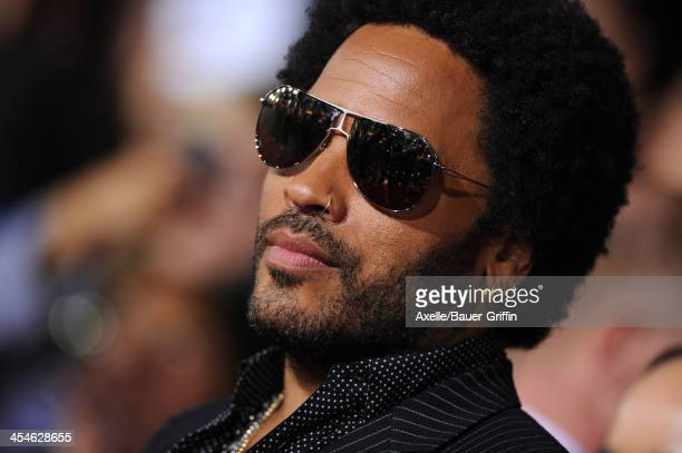 Musician Lenny Kravitz arrives at the Los Angeles Premiere of 'The Hunger Games Catching Fire' at Nokia Theatre LA Live on November 18 2013 in Los...