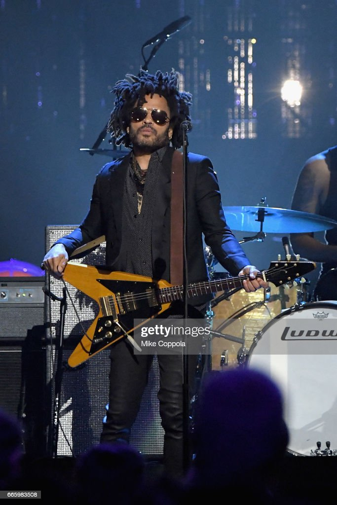 Musician Lenny Kravitz plays a tribute to 2004 inductee Prince onstage at the 32nd Annual Rock & Roll Hall Of Fame Induction Ceremony at Barclays Center on April 7, 2017 in New York City. The event will broadcast on HBO Saturday, April 29, 2017 at 8:00 pm ET/PT
