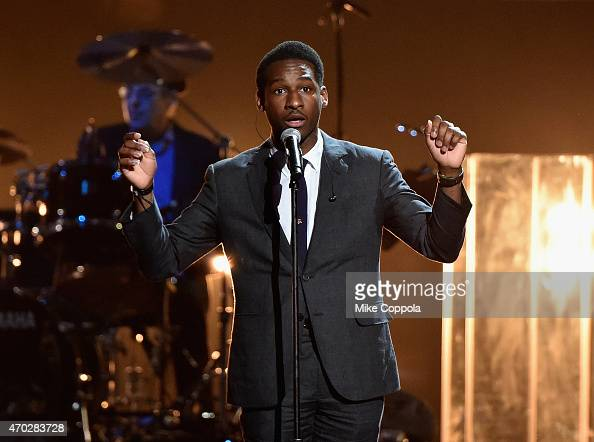 Musician Leon Bridges performs a song by The 5 Royales onstage during the 30th Annual Rock And Roll Hall Of Fame Induction Ceremony at Public Hall on...
