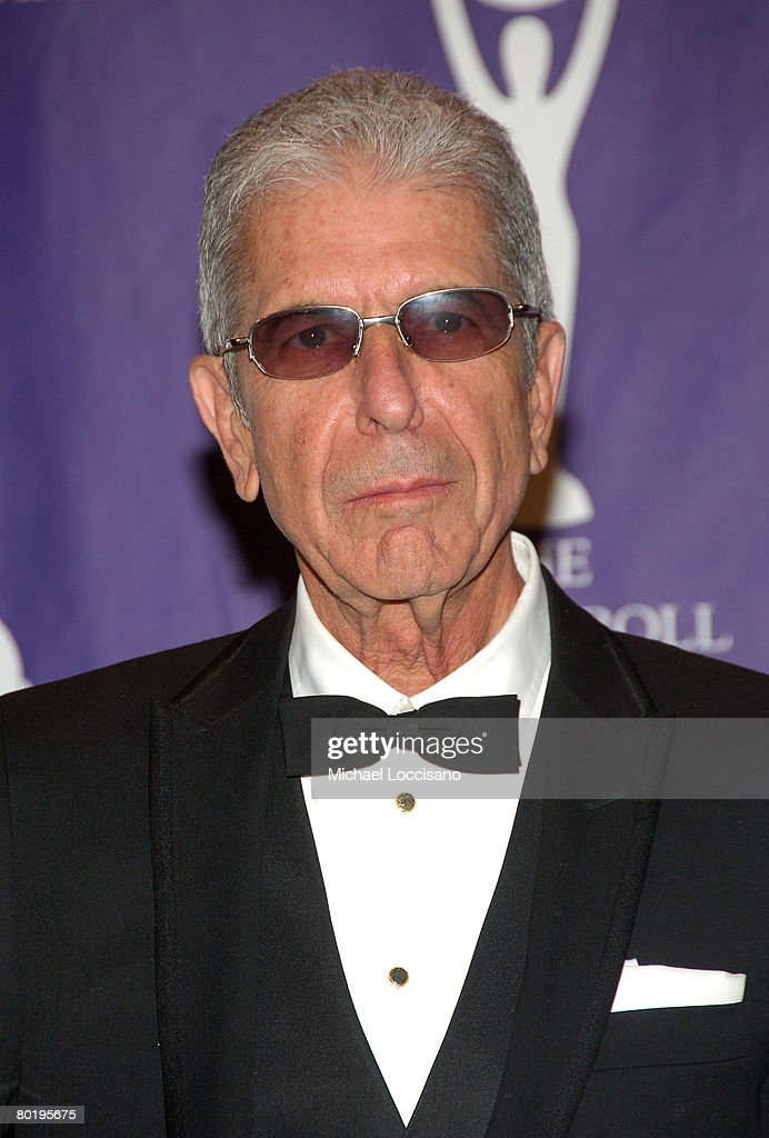 Musician Leonard Cohen poses in the press room at the 2008 Rock and Roll Hall of Fame Induction Ceremony at The Waldorf-Astoria Hotel on March 10, 2008 in New York City.