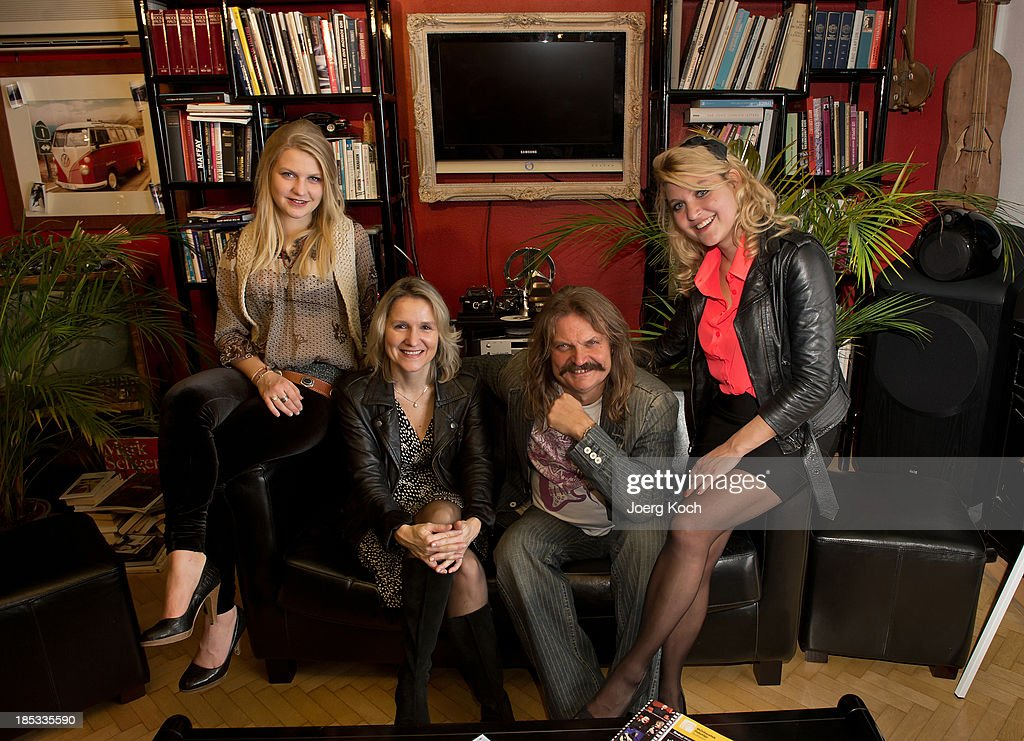 Musician Leslie Mandoki, his wife Eva (2nd from l) and daughters Julia and Lara pose during a get-together for the launch of Mandokis new Album 'BudaBest' on October 18, 2013 in the Red Rock Studios in Tutzing near Munich, Germany. Mandoki recorded the new album in Budapest featuring Jack Bruce (Cream), Bobby Kimball (Toto), Chris Thompson (former Manfred Mann`s Earth Band), John Helliwell (Supertramp) and Peter Maffay.