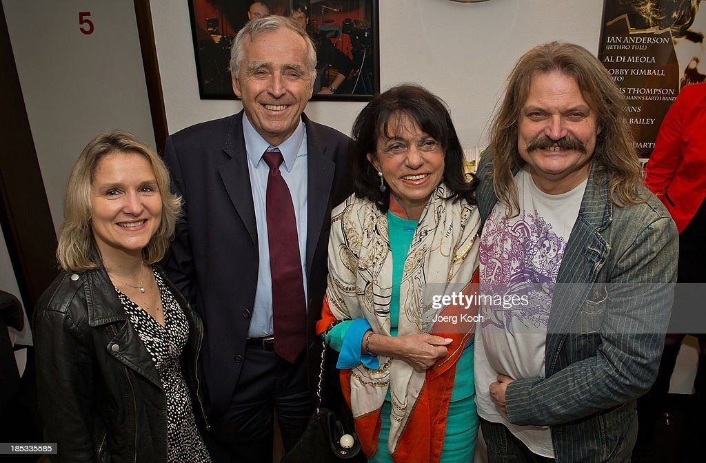 Musician Leslie Mandoki (r ), his wife Eva (l), Erich Sixt, CEO of the German car rental company Sixt AG, and his wife Regine pose during a get-together for the launch of Mandokis new Album 'BudaBest' on October 18, 2013 in the Red Rock Studios in Tutzing near Munich, Germany. Mandoki recorded the new album in Budapest featuring Jack Bruce (Cream), Bobby Kimball (Toto), Chris Thompson (former Manfred Mann`s Earth Band), John Helliwell (Supertramp) and Peter Maffay.