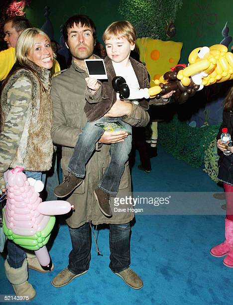 Musician Liam Gallagher Nicole Appleton and their son Gene Appleton Gallagher arrive at the UK Gala Premiere of 'The SpongeBob SquarePants Movie' at...