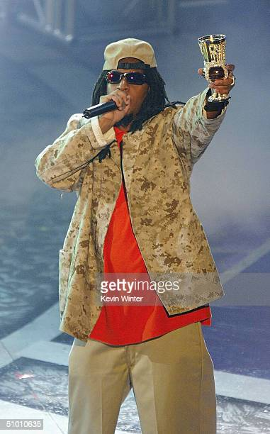 Musician Lil Jon accepts the Viewer's Choice Award on stage at the 2004 Black Entertainment Awards held at the Kodak Theatre on June 29 2004 in...