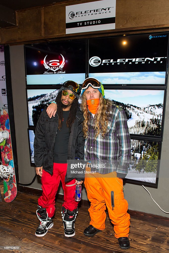 Musician Lil Jon (L) and snowboarder The Dingo attends Oakley Learn To Ride In Collaboration With New Era on January 19, 2013 in Park City, Utah.