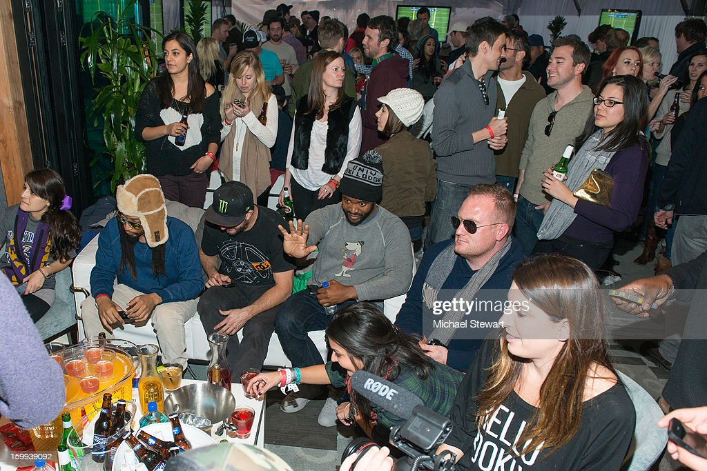 Musician Lil Jon, Ken Block and Sal Masekela and guests attend Paige Hospitality Game Watch at Sky Bar on January 20, 2013 in Park City, Utah.