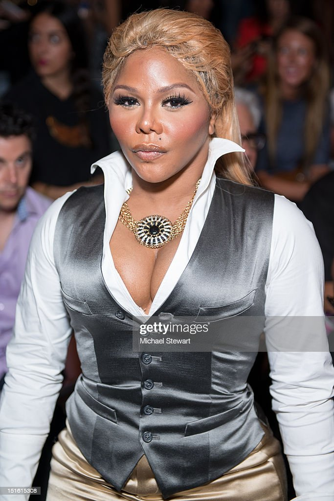 Musician Lil Kim attends the Mara Hoffman show during Spring 2013 Mercedes-Benz Fashion Week at The Stage Lincoln Center on September 8, 2012 in New York City.