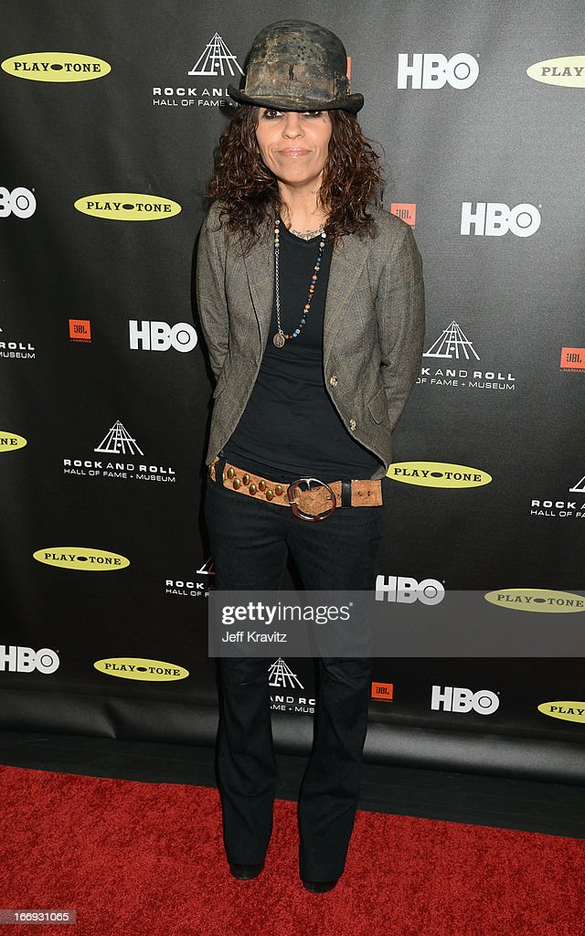 Musician Linda Perry arrives at the 28th Annual Rock and Roll Hall of Fame Induction Ceremony at Nokia Theatre L.A. Live on April 18, 2013 in Los Angeles, California.