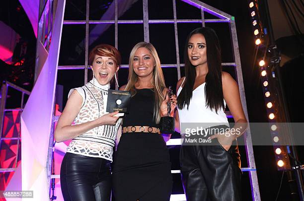 Musician Lindsey Stirling Justine Ezarik and Shay Mitchell attend VH1's 5th Annual Streamy Awards at the Hollywood Palladium on Thursday September 17...