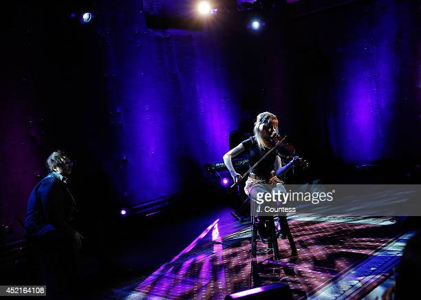 Musician Lindsey Stirling performs during the AOL Build Speakers Series at AOL Studios on July 14 2014 in New York United States