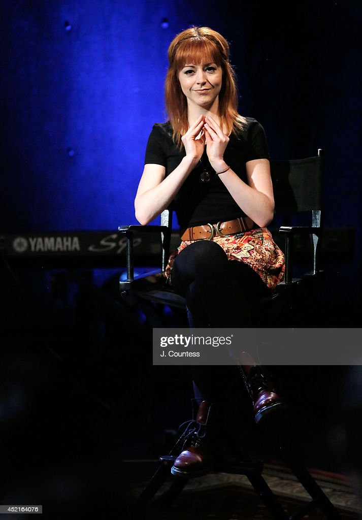 Musician <a gi-track='captionPersonalityLinkClicked' href=/galleries/search?phrase=Lindsey+Stirling&family=editorial&specificpeople=9719845 ng-click='$event.stopPropagation()'>Lindsey Stirling</a> speaks during the AOL Build Speakers Series at AOL Studios on July 14, 2014 in New York, United States.
