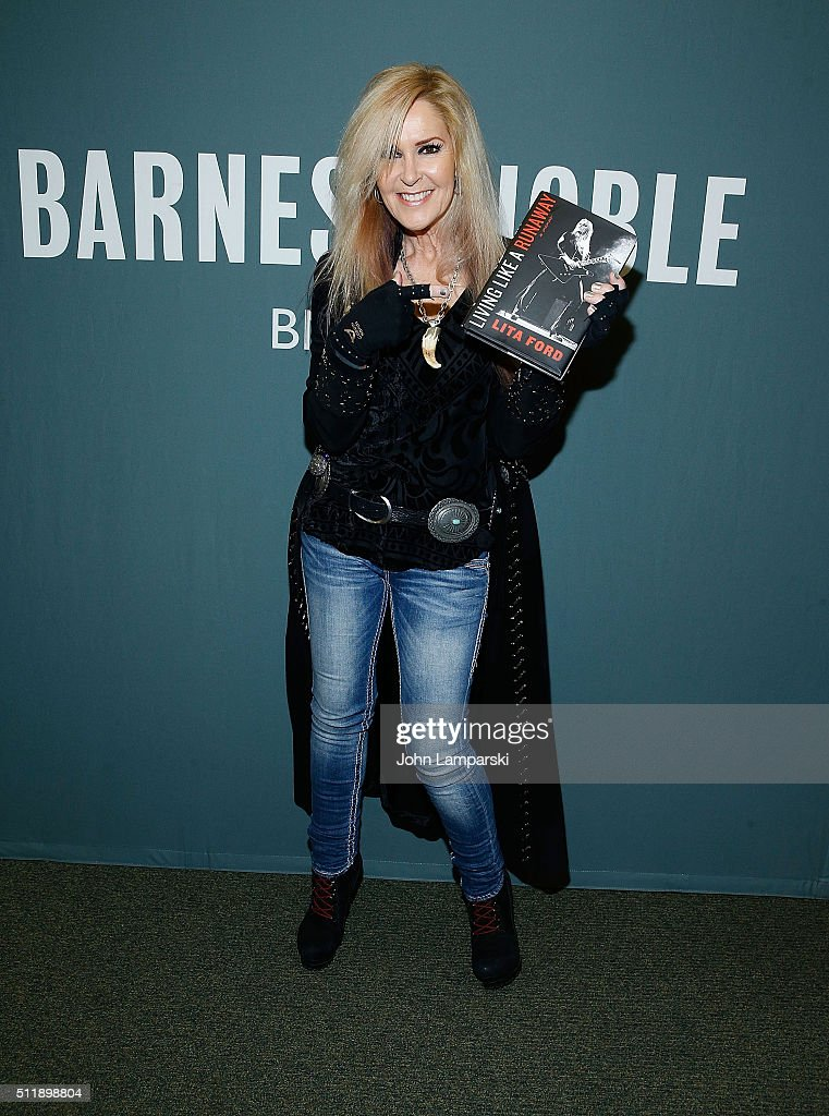 Musician Lita Ford signs copies of 'Living Like A Runaway: A Memoir' at Barnes & Noble Tribeca on February 23, 2016 in New York City.