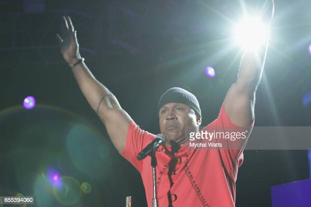 Musician LL Cool J performs on stage at The 12th Annual Jazz In The Gardens Music Festival Day 2 at Hard Rock Stadium on March 19 2017 in Miami...