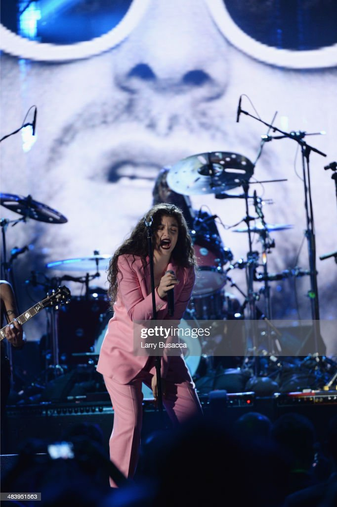 Musician <a gi-track='captionPersonalityLinkClicked' href=/galleries/search?phrase=Lorde&family=editorial&specificpeople=3209104 ng-click='$event.stopPropagation()'>Lorde</a> performs onstage at the 29th Annual Rock And Roll Hall Of Fame Induction Ceremony at Barclays Center of Brooklyn on April 10, 2014 in New York City.