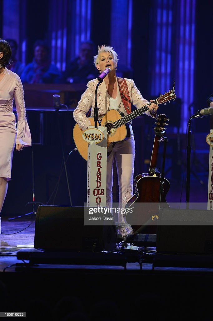 Musician <a gi-track='captionPersonalityLinkClicked' href=/galleries/search?phrase=Lorrie+Morgan&family=editorial&specificpeople=1063734 ng-click='$event.stopPropagation()'>Lorrie Morgan</a> performs during the 5th annual Opry Goes Pink show at The Grand Ole Opry on October 22, 2013 in Nashville, Tennessee.