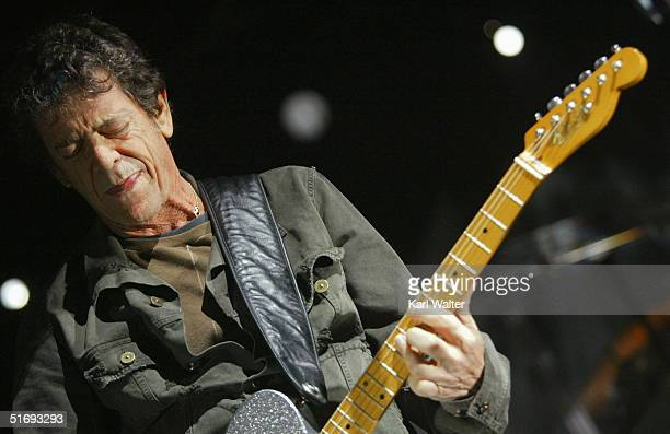 Musician Lou Reed performs at All Tomorrow's Parties at the Queen Mary on November 6 2004 in Los Angeles California The two day music festival was...