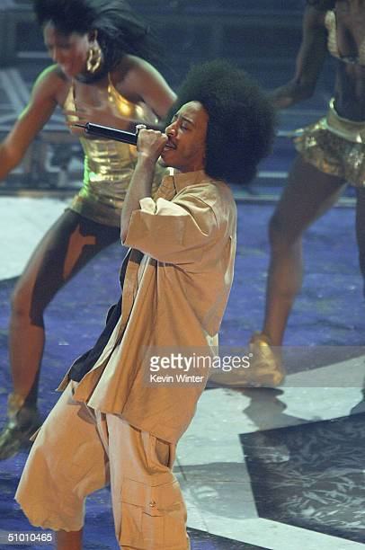 Musician Ludacris performs on stage at the 2004 Black Entertainment Awards held at the Kodak Theatre on June 29 2004 in Hollywood California