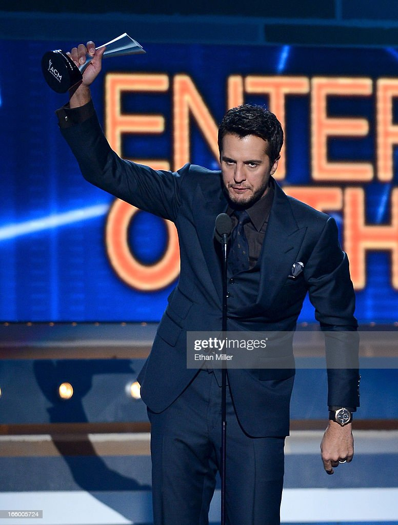 Musician Luke Bryan accepts the Entertainer of the Year award onstage during the 48th Annual Academy of Country Music Awards at the MGM Grand Garden Arena on April 7, 2013 in Las Vegas, Nevada.