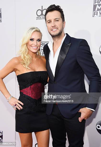 Musician Luke Bryan and Caroline Bryan attend the 2015 American Music Awards at Microsoft Theater on November 22 2015 in Los Angeles California