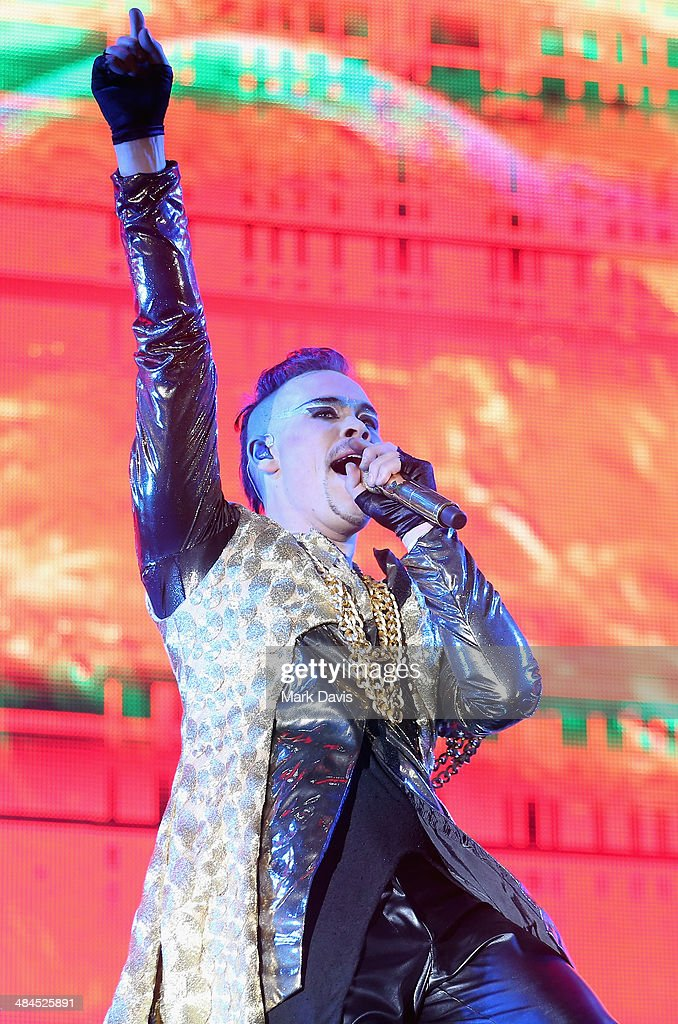 Musician Luke Steele of Empire of the Sun performs onstage during day 2 of the 2014 Coachella Valley Music & Arts Festival at the Empire Polo Club on April 12, 2014 in Indio, California.